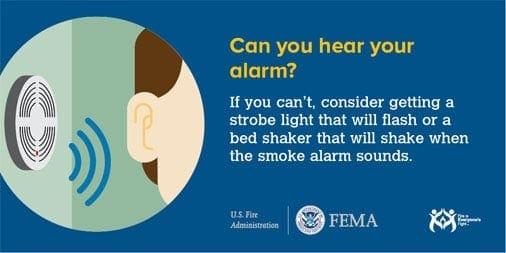 A FEMA infographic on hearing smoke alarms.